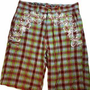 Azzure Mens Multicolor Plaid Bermuda Shorts 36